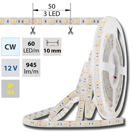 ML-121.606.60.0 LED pasek SMD5050 studene bila, DC12V, IP54, 10mm,bily PCB pasek, 60 LED/m